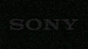 Sony Corporation logo made of hexadecimal symbols on computer screen. Editorial 3D rendering. Sony Corporation logo made of hexadecimal symbols on computer Royalty Free Stock Photo