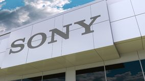 Sony Corporation logo on the modern building facade. Editorial 3D rendering. Sony Corporation logo on the modern building facade. Editorial 3D stock video footage