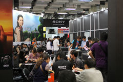 Sony digital camera at the exhibition. TAIPEI - NOV 7: Sony digital camera at the exhibition, the Taipei exhibition of digital photographic equipment November 7 Stock Images
