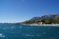 City beach in Kemer, Turkey. stock image