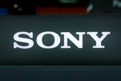 Sony Electronics Demo Display Logo-Nahaufnahme-hintergrundbeleuchteter Speicher Photogr lizenzfreies stockbild