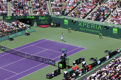 Sony Ericsson Open in Miami, Florida. Tennis court at Sony Ericsson Open in Miami, USA at April 1, 2012.  Novak Djokovic defeating Andy Murray 6-1, 7-6(4) to Royalty Free Stock Images