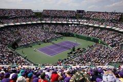 Sony Ericsson Open in Miami, Florida. Tennis court at Sony Ericsson Open in Miami, USA at April 1, 2012.  Novak Djokovic defeating Andy Murray 6-1, 7-6(4) to Royalty Free Stock Photo