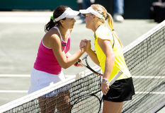 Sony Ericsson WTA Tour Family Cirlce Cup Apr 16. 16 April 2009 Sony Ericsson WTA Tour Family Circle Cup Charleston, SC -  Marion Bartoli and Melanie Oudin shake Stock Photography