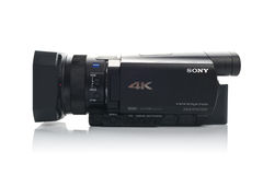 Sony FDR AX100 4k UHD Handycam Camcorder. NOVI SAD, SERBIA - APRIL 25, 2015: Sony FDR AX100 4k Handycam Camcorder (announced in 2014.) captures Ultra High Royalty Free Stock Images