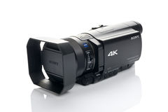 Sony FDR AX100 4k UHD Handycam Camcorder. NOVI SAD, SERBIA - APRIL 25, 2015: Sony FDR AX100 4k Handycam Camcorder (announced in 2014.) captures Ultra High Royalty Free Stock Photography