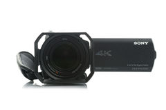 Sony FDR AX100 4k UHD Handycam Camcorder. NOVI SAD, SERBIA - APRIL 25, 2015: Sony FDR AX100 4k Handycam Camcorder (announced in 2014.) captures Ultra High Stock Photo