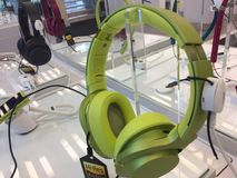 Sony headphones in store. Berlin, Germany - March 30, 2017: Sony headphones in store. Sony Corporation is a Japanese multinational conglomerate corporation. Its Royalty Free Stock Photos