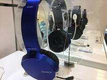 Sony headphones in store. Berlin, Germany - March 30, 2017: Sony headphones in store. Sony Corporation is a Japanese multinational conglomerate corporation. Its Royalty Free Stock Image