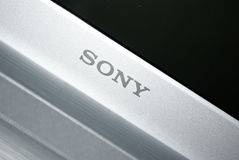 Sony inscription. On silver laptop stock image