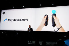 Sony introducing PlayStation 3 Move. Sony introducing, for the first time, new motion controller PlayStation Move for PlayStation 3 at Games Developer Conference Stock Image