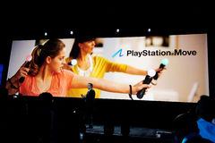 Sony introducing PlayStation 3 Move. Sony introducing, for the first time, new motion controller PlayStation Move for PlayStation 3 at Games Developer Conference Royalty Free Stock Photography