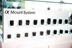 Sony Lens selection. A display of Sony Lenses Royalty Free Stock Images