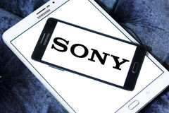 Sony logo. Logo of sony company on samsung mobile phone a5 Royalty Free Stock Photography