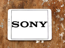 Sony logo. Logo of electronics company sony on samsung tablet on wooden background stock photos