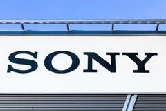 Sony logo na ścianie Zdjęcia Royalty Free