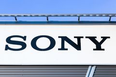 Sony logo on a wall. Dortmund, Germany - July 21, 2017: Sony logo on a wall. Sony is a Japanese multinational conglomerate corporation that is headquartered in royalty free stock photos