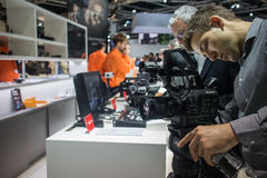Sony at Photokina 2016. Wednesday, September 21, 2016: Sony booth at the largest trade fair for photo and imaging industries, Photokina, in Cologne, Germany royalty free stock photography
