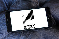 Sony pictures logo. Logo of the american sony pictures on samsung mobile phone Royalty Free Stock Photos