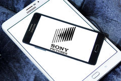 Sony pictures logo. Logo of the american sony pictures on samsung mobile phone on samsung tablet Stock Images