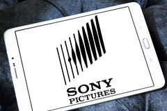 Sony pictures logo. Logo of the american sony pictures on samsung tablet Royalty Free Stock Image