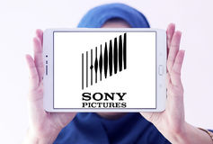 Sony pictures logo. Logo of the american sony pictures on samsung tablet holded by arab muslim woman royalty free stock photography