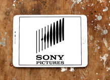 Sony pictures logo. Logo of the american sony pictures on samsung tablet on wooden background Stock Image