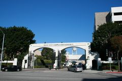 Sony Pictures Studios Overland Gate. Culver City, USA - December 7, 2010: Entrance to Sony Pictures Studios lot known as the Overland Gate or West Gate. Sony's royalty free stock photo