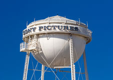 Sony Pictures Water Tower. CULVER CITY, CA/USA - NOVEMBER 29, 2014: Sony Pictures studios water tower and marquee. Sony Pictures Studios are a television and Stock Image