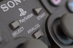 Sony Playstation controller. Retro video game console computer Royalty Free Stock Photos