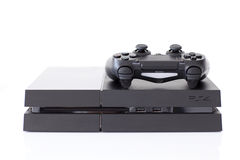 Sony PlayStation 4 game console of the eighth generation. Alushta, Russia - November 11, 2014: Sony PlayStation 4 game console of the eighth generation. The Stock Image