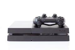 Sony PlayStation 4 modig konsol av den åttonde utvecklingen Fotografering för Bildbyråer