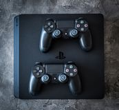 Sony Playstation system with controllers stock photography