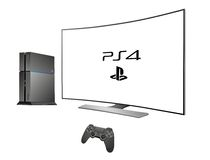 Sony PS 4 - console for game. Sony Playstation 4 and curve TV realistic illustration Royalty Free Stock Photography
