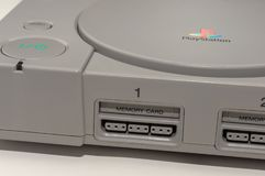 Melbourne, Australia - July 23rd 2018: Close-up, and tilted view of Sony`s Original PlayStation Console. Sony`s first PlayStation console was released in stock photos