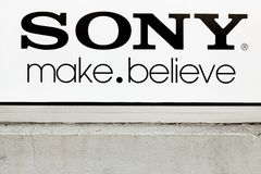 Sony sign on a wall. Villefranche, France - March 13, 2017: Sony sign on a wall. Sony is a Japanese multinational conglomerate corporation that is headquartered Royalty Free Stock Photo