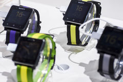 SONY SMART WATCH 2, MOBILE WORLD CONGRESS 2014 Royalty Free Stock Images