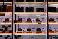Sony Store Alpha Camera Display. Sony alpha cameras on display at Sony store royalty free stock photo