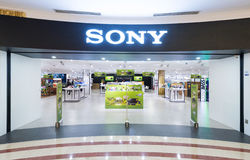Sony store in Suria KLCC mall, Kuala Lumpur. KUALA LUMPUR - JUNE 15, 2016: The Sony store in the Suria KLCC mall. The diversified business of Sony includes Royalty Free Stock Photos