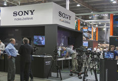 Sony TV equipment booth Royalty Free Stock Photos