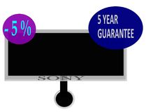 Sign a five year warranty and five percent discount cash. Sony TV with a five year guarantee and five percent discount if you pay cash Stock Photos