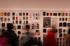 Sony Walkman Display. Display of many Sony Walkman music players at an exhibition held at the Sony Building in Ginza, Tokyo. Photo taken December 2016 stock images