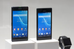 SONY XPERIA Z2 & M2, MOBILE WORLD CONGRESS 2014. Sony Xperia Z2 (left) & M2 (right) on Sony Stand at Mobile World Congress that celebrates on Barcelona on days Stock Image