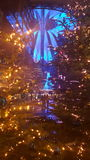 SonyCenter Berlin Christmas. The SonyCenter seen trough christmastrees Stock Photos