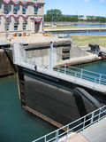Soo Locks. One of the lock gates at the Soo Locks in Sault Ste. Marie, Michigan, Upper Peninsula stock photography