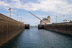 The Soo Locks. The entrance to the Soo Locks. Approximately 10,000 ships per year, making it one of the busiest in the world and integral to the Great Lakes royalty free stock photo