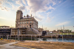 Soo Locks Shipping Canal americana Imágenes de archivo libres de regalías