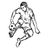Soocer player kicking ball - vector illustration sketch hand dra Stock Photos