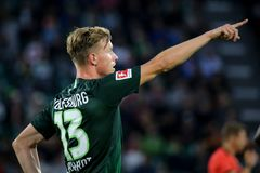 Soocer player Yannick Gerhardt during a match on 2018 - 2019 season. Wolfsburg, Germany, August 11, 2018: Yannick Gerhardt during a soccer match at Volkswagen royalty free stock photography