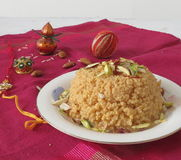 Sooji halwa. A spicy and delicious halwa made with semolina and sugar Royalty Free Stock Photo